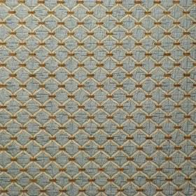 Agra - Blue Walnut - Fabric made from a pale blue blend of viscose and polyester, with a cream coloured diagonal grid on top and brown dots