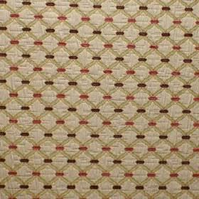 Agra - Cranberry - Dots in dark shades of brown & red on a diagonal grid patterned viscose & polyester blend fabric in two shades of cream