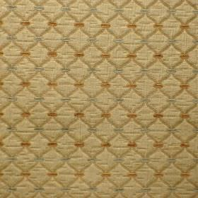 Agra - Hazelwood - Viscose and polyester blend fabric with a diagonal grid and dot pattern in three different shades of gold and silver