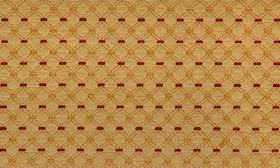 Agra - Spice - Gold-green diagonal grid patterned fabric made from viscose and polyester, patterned with orange and dark red rectangles