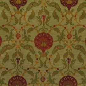 Ottoman - Apple Red - Fabric made from viscose and polyester in light green with a repeated pattern of dark red round flowers and green leav