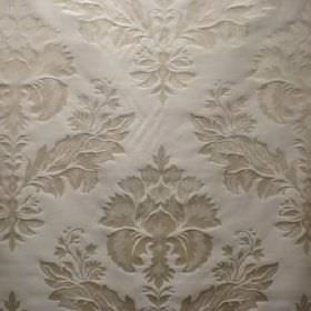 Windsor - Antique White - An ornate light beige coloured pattern pressed into very pale grey fabric blended from viscose and polyester