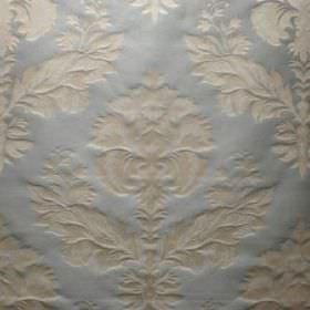 Windsor - Powder Blue - An ornate cream coloured leafy pattern pressed into silver coloured viscose and polyester blend fabric