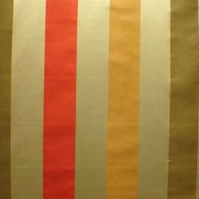 Perla - Gabriel - Bright red, orange, forest green and cream-gold striped fabric made from a blend of viscose and polyester