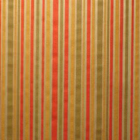 Perla - Millais - Striped viscose and polyester blend fabric in gold, forest green, orange and bright red