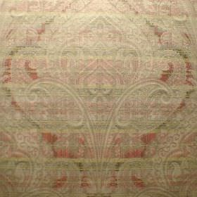 Perugia - Cezanne - A large, very detailed, subtle pattern on dusky green, cream and red striped viscose and polyester blend fabric