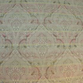 Perugia - Monet - Fabric made with a viscose and polyester blend with very pale red, cream and green stripes under a subtle ornate pattern