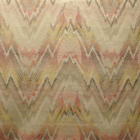Perugia - Renoir - Jagged zigzag lines blended in shades of cream, brown, orange and yellow, on fabric made from viscose and polyester