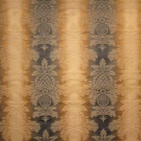 Saragossa Columbus - Bluestone - Caramel and dark grey striped cotton and polyester blend fabric with a detailed, subtle pattern on top