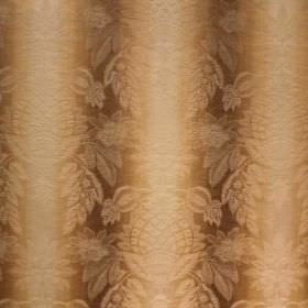 Saragossa Cordoba - Wheat - Subtle ornate patterns and vertical stripes on fabric blended from cotton and polyester in brown, gold and cream
