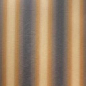 Saragossa Elenora - Bluestone - A repeated vertical stripe pattern in dark blue-grey, gold and cream on cotton and polyester blend fabric