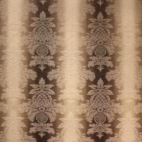 Saragossa Columbus - Linen - A detailed, subtle pattern on top of dark brown and cream striped fabric blended from cotton and polyester