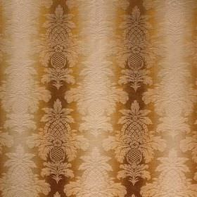 Saragossa Columbus - Maize - Dark brown, gold and cream coloured fabric made from cotton and polyester, with a patterned, striped design