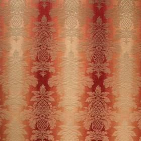 Saragossa Columbus - Raspberry - Subtle patterning on top of dark red and very pale orange coloured fabric made from cotton and polyester