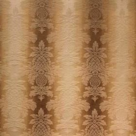 Saragossa Columbus - Wheat - Cotton and polyester blended together into a dark brown and cream coloured striped fabric, with a subtle, ornat
