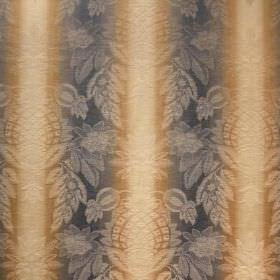 Saragossa Cordoba - Bluestone - Fabric with a cotton and polyester blend in dark blue, gold and cream stripes, topped with a very subtle, or