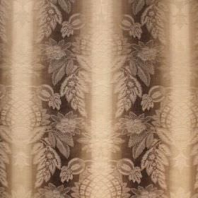 Saragossa Cordoba - Linen - A very subtle, ornate pattern on top of cotton and polyester blend fabric striped in warm cream and dark brown c