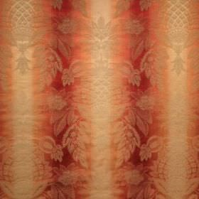 Saragossa Cordoba - Raspberry - Dark red-orange and light gold striped cotton and polyester blend fabric as a background for a very subtle, or