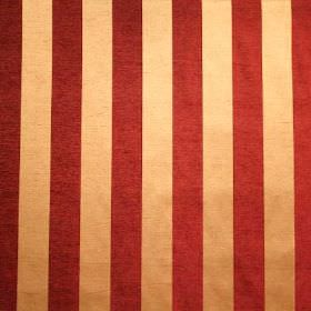 Cuthbert - Berry Red - Dark gold and brick red coloured stripes alternating on fabric made from viscose and polyester