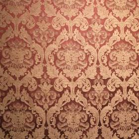 Hamilton - Mulberry - Fabric made from dusky red and caramel coloured viscose and polyester, with a repeated, ornate pattern