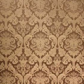 Hamilton - Platinum - Brown viscose and polyester blend fabric as a background for a repeated, ornate design in light cream-gold