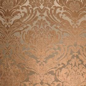 Sheridan - Duck Egg - Silver fabric with a viscose and polyester blend, and a caramel coloured ornate leafy pattern which is repeated