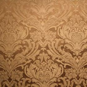 Sheridan - Platinum - Fabric made from viscose and polyester, patterned with an ornate, leafy, repeated design in 2 different light brown shad