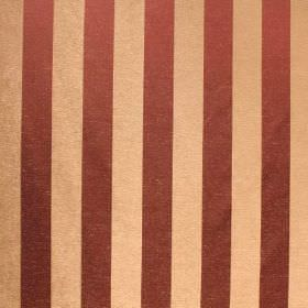 Cuthbert - Mulberry - Fabric made from a blend of viscose and polyester, with a vertical striped design in cream-gold and brown