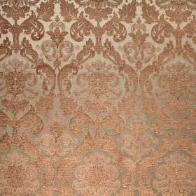 Hamilton - Duck Egg - Bronze coloured ornate patterns on a silver viscose and polyester blend fabric background