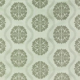Abyss Abzu - Pumice - Patterns and wavy lines in two shades of green-grey repeatedly patterning pale grey fabric made from polyester and cotto
