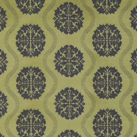 Abyss Abzu - Lilac - Patterned round shapes in charcoal on olive green coloured fabric made from polyester and cotton, also with wavy lines
