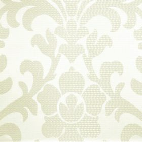 Abyss Depth - Pumice - A large, ivory coloured leafy flower pattern subtly patterning white fabric containing a blend of polyester and cotto