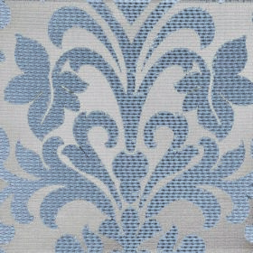Abyss Depth - Hydro - Blue and silver coloured fabric made from polyester and cotton with a large, ornate leafy flower design