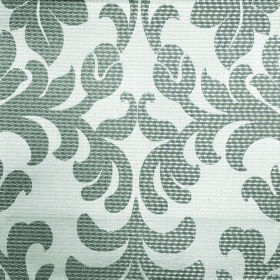 Abyss Depth - Foam - Fabric made from grey and white polyester and cotton with a leafy flower pattern that is large, ornate and elaborate