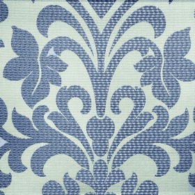 Abyss Depth - Fog - Dark blue coloured large, leafy flower patterns covering pale duck egg blue coloured polyester and cotton blend fabric