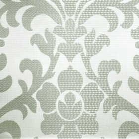 Abyss Depth - Bone - Polyester and cotton blend fabric in silver grey and white, featuring a large repeated ornate leafy flower pattern