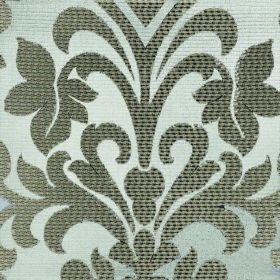 Abyss Depth - Trellis - Dark grey-green leafy florals and swirls on a fabric background made from silver polyester and cotton