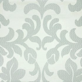Abyss Depth - Cinder - Simple buds and leaves in a leafy flower pattern in light grey on a white polyester-cotton blend fabric background