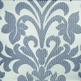 Abyss Depth - Fungi - Fabric containing polyester and cotton in dark blue & very pale grey, with a simple, ornate leafy flower & swirl patte