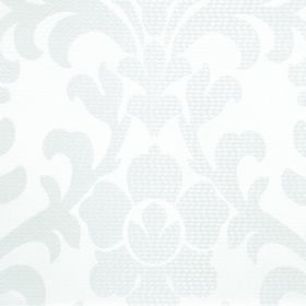 Abyss Depth - White - Subtly patterned fabric made from polyester and cotton with a large leafy flower design in 2 very similar shades of whit
