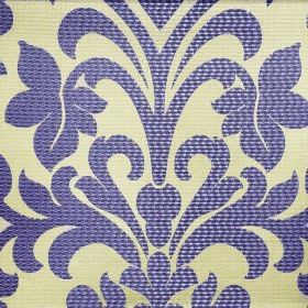 Abyss Depth - Lilac - Polyester-cotton blend fabric in indigo and pale yellow colours, patterned with a simple but large leafy flower design