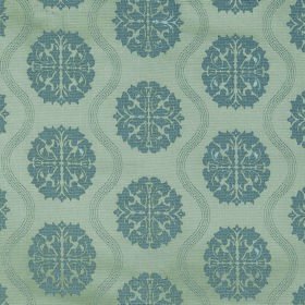 Abyss Abzu - Trellis - Polyester-cotton blend fabric in light green-grey, with a design of wavy lines anddetailed denim blue circular shape