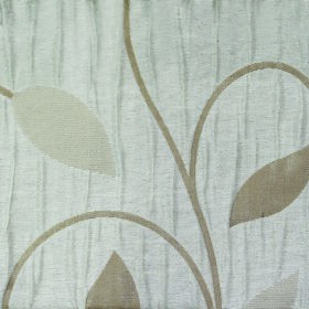 Ashleigh Large Leaf - Cream - Simple beige and light brown leaves and curving vines on a pale blue-grey coloured 100% polyester fabric backg