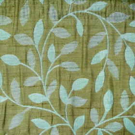 Ashleigh Small Leaf - Teal - Fabric made with a simple pattern of leaves and vinesin olive green and ice blue