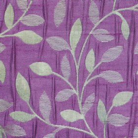 Ashleigh Small Leaf - Violet - Polyester fabric made in off-white and two different shades of purple, with a simple design of leaves and cur