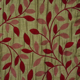Ashleigh Small Leaf - Ruby - Dark red, copper and light green coloured 100% polyester fabric with a leaf and curved vine design which is ver