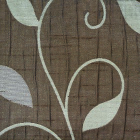 Ashleigh Large Leaf - Chocolate - Chocolate brown coloured 100% polyester fabric patterned with very simple leaves and curving vines in a pa
