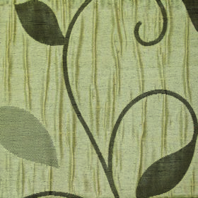 Ashleigh Large Leaf - Biscuit - Three different shades of green making up a simple leaf and curving vine pattern on fabric made entirely fro