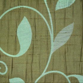 Ashleigh Large Leaf - Teal - A simple leaf and swirling vine pattern in a very pale shade of blue on fabricmade from olive green coloured p