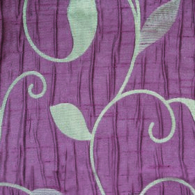 Ashleigh Large Leaf - Violet - Swirling vines and simple leaves patterning 100% polyester fabric, made in dusky purple and light silver-blue